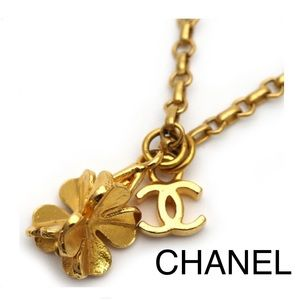 Chanel Clover Pendant Golden Plated Necklace